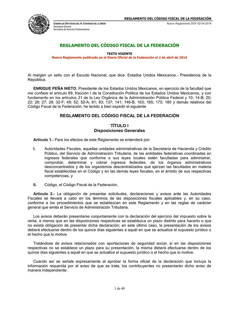NUEVO | REGLAMENTO del Código Fiscal de la Federación