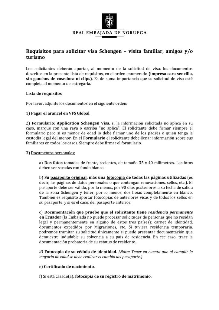 Requisitos para solicitar visa Schengen – visita familiar, amigos y/o