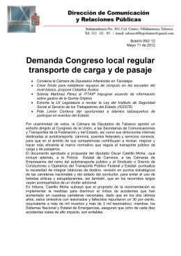 Demanda Congreso local regular transporte de carga y de pasaje