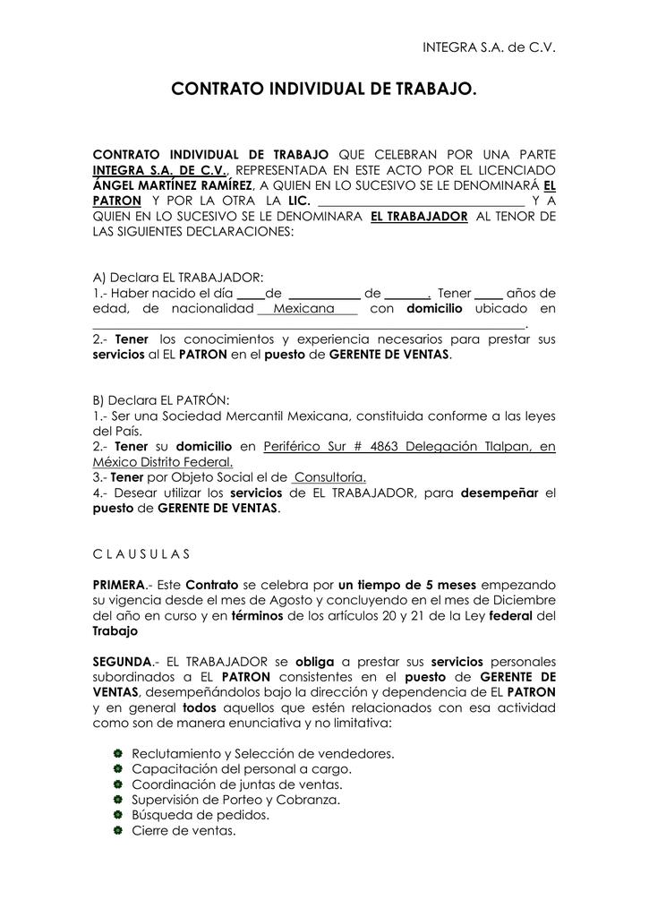 Contrato Individual De Trabajo Integra S A De C V