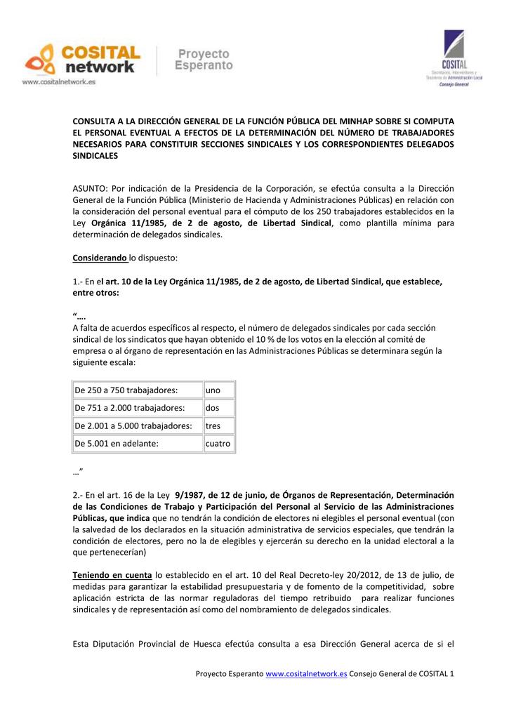 CONSULTA A LA DIRECCIÓN GENERAL DE LA FUNCIÓN PÚBLICA DEL... EL ...