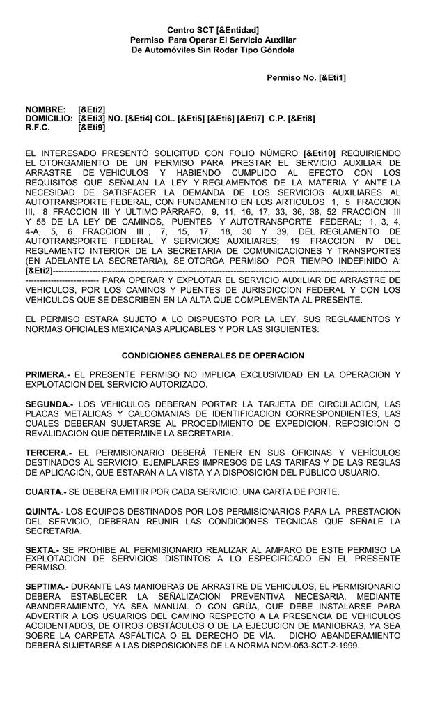 Centro SCT [&Entidad] Permiso Para Operar El Servicio Auxiliar