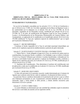 Ordenanza fiscal número 26 reguladora de la tasa por vigilancia