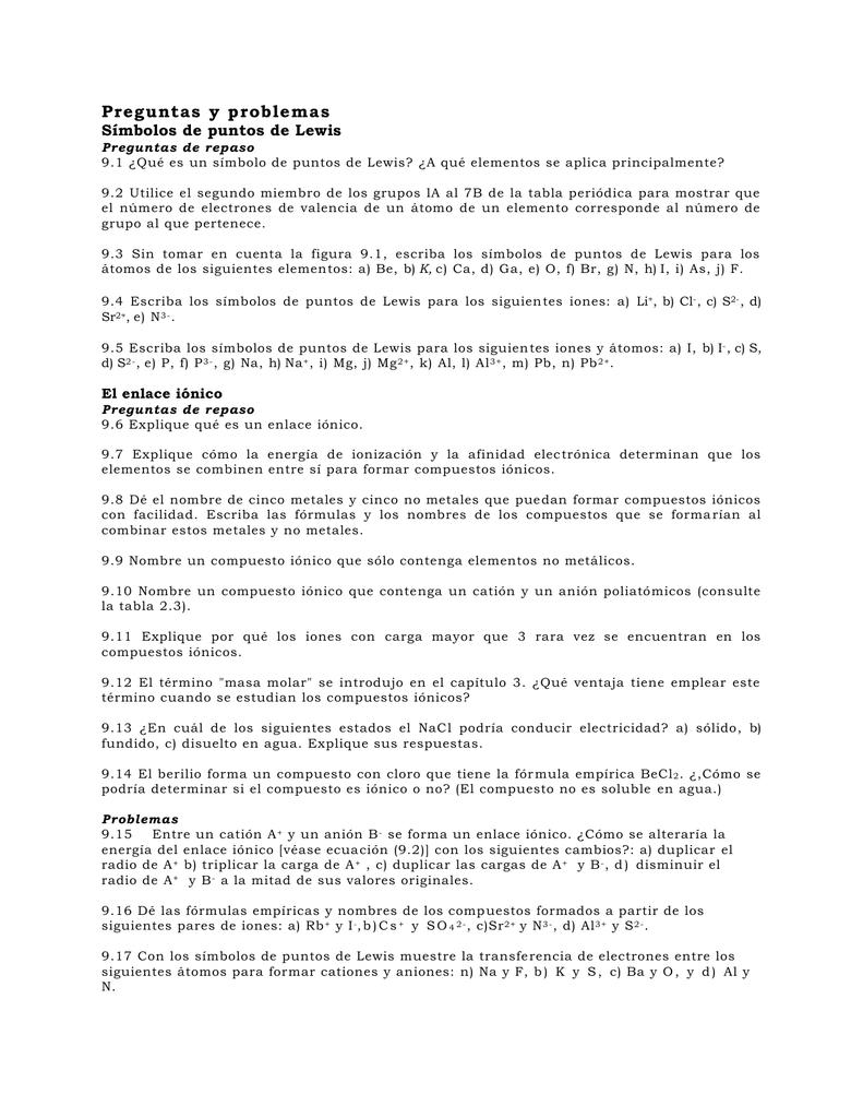 Preguntas Y Problemas Símbolos De Puntos De Lewis Preguntas De