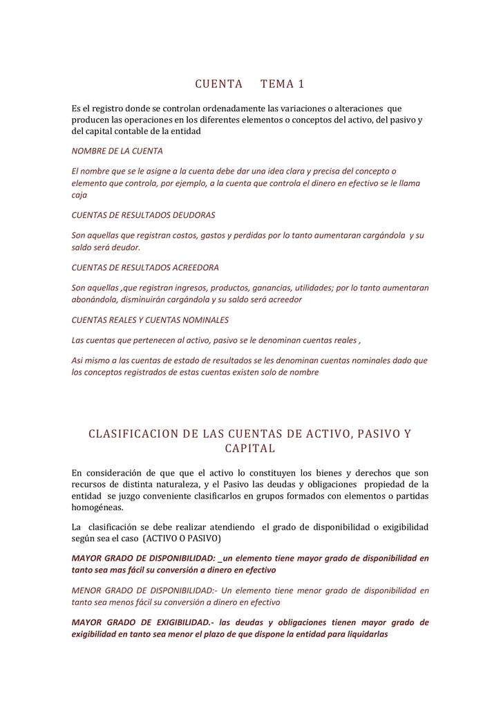 Clasificacion De Las Cuentas De Activo Pasivo Y Capital