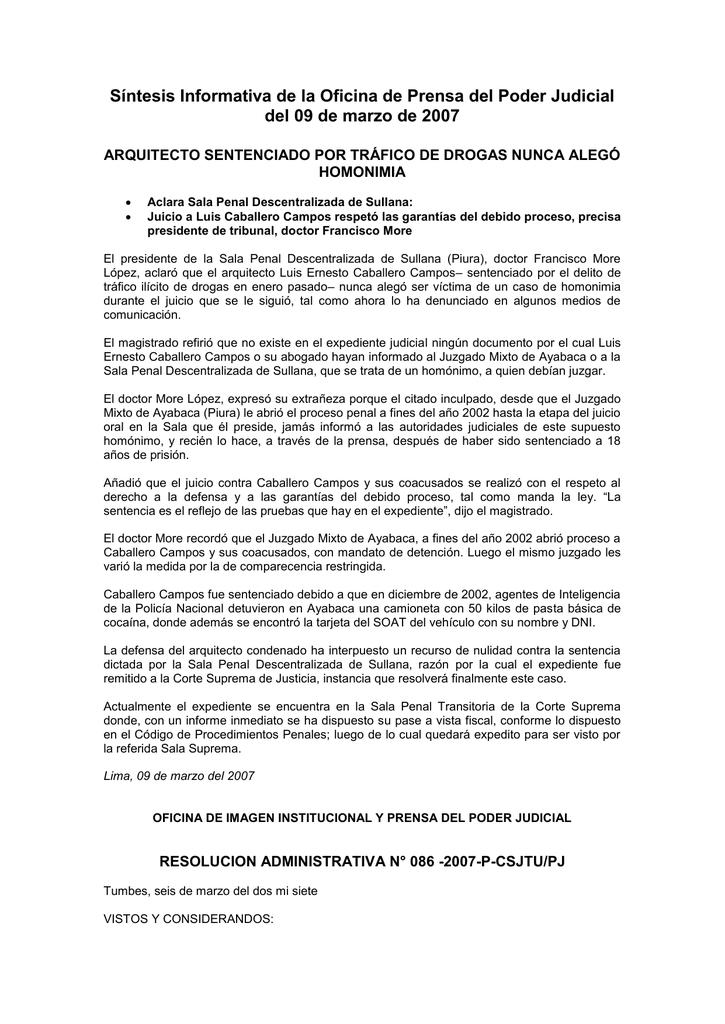 Síntesis Informativa de la Oficina de Prensa del Poder Judicial del