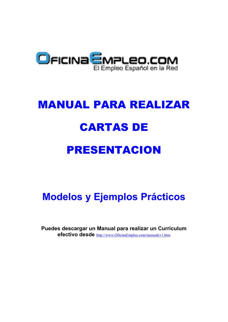 MANUAL PARA REALIZAR CARTAS DE PRESENTACION Modelos y Ejemplos Prácticos