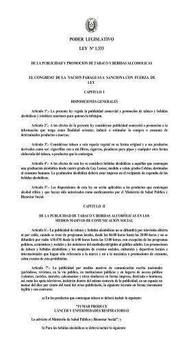 PODER  LEGISLATIVO LEY  N° 1.333 LEY