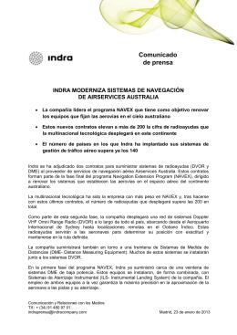 Comunicado de prensa  INDRA MODERNIZA SISTEMAS DE NAVEGACIÓN