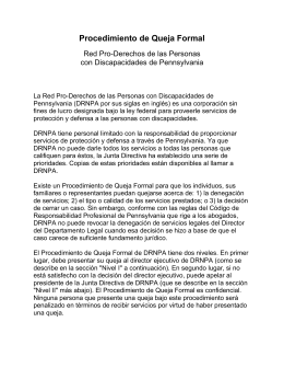 Proceso de Queja Formal - Disability Rights Network of Pennsylvania
