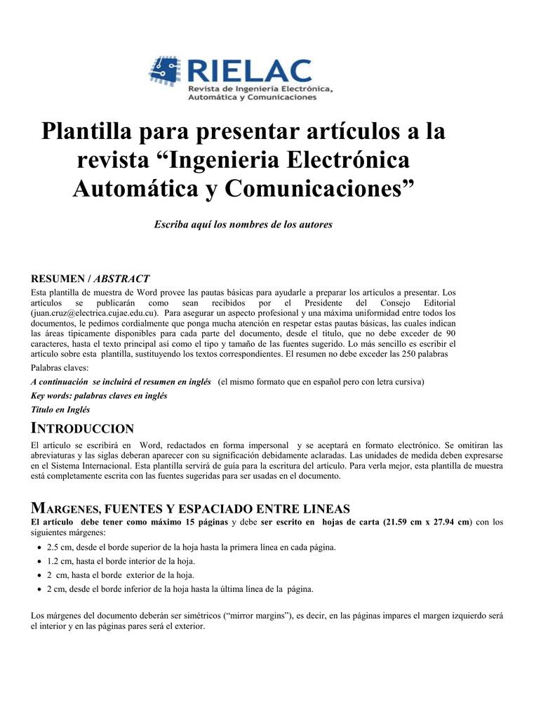 Plantilla - Ingeniería Electrónica, Automática y Comunicaciones