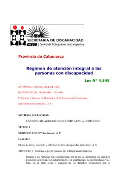 Ley Provincial de Catamarca N° 4