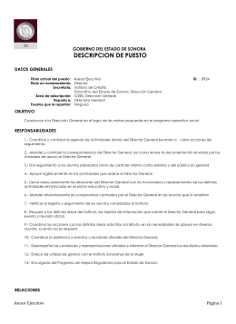 GOBIERNO DEL ESTADO DE SONORA DESCRIPCION DE
