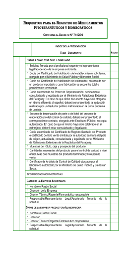 Requisitos para el Registro de Medicamentos Fitoterapéuticos y