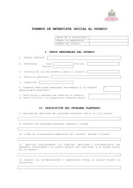 FORMATO DE ENTREVISTA INICIAL AL USUARIO Fecha de la e