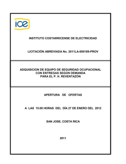 Partida N0 1 - Grupo ICE - Instituto Costarricense de Electricidad