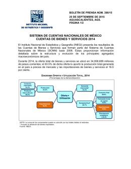 INEGI da a conocer las Cuentas Nacionales 2014 con los últimos