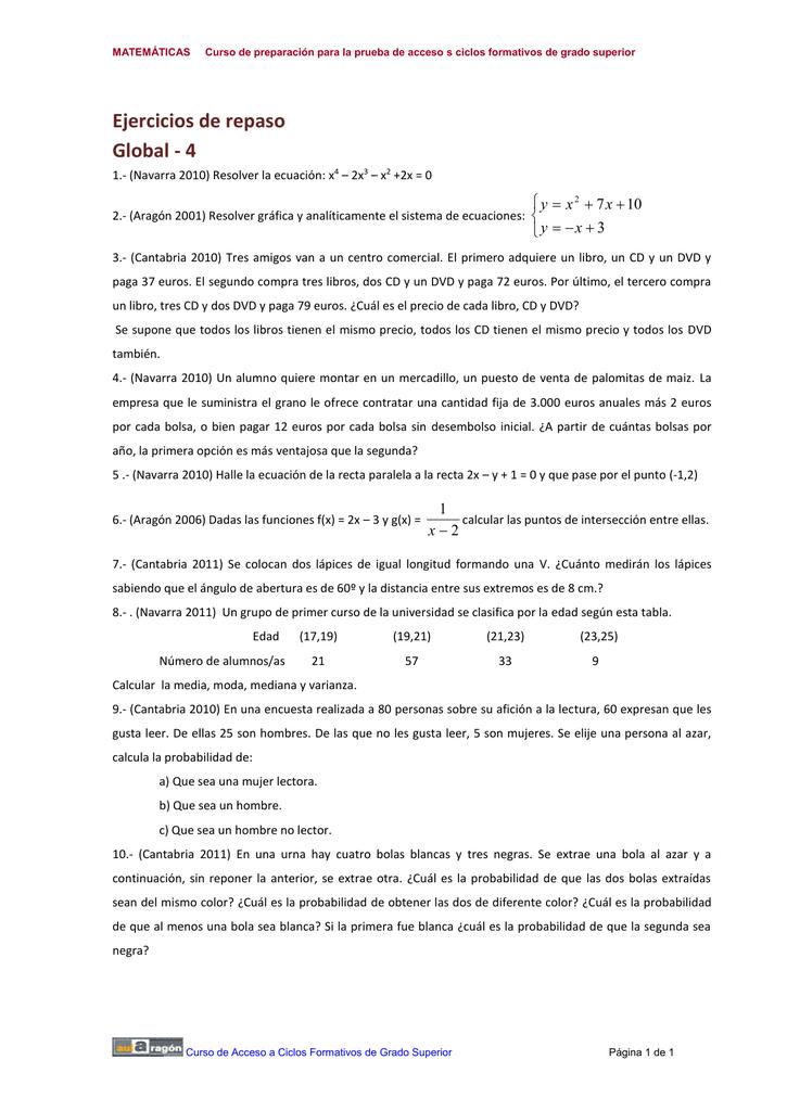 Matemáticas Curso De Preparación Para La Prueba De Acceso S