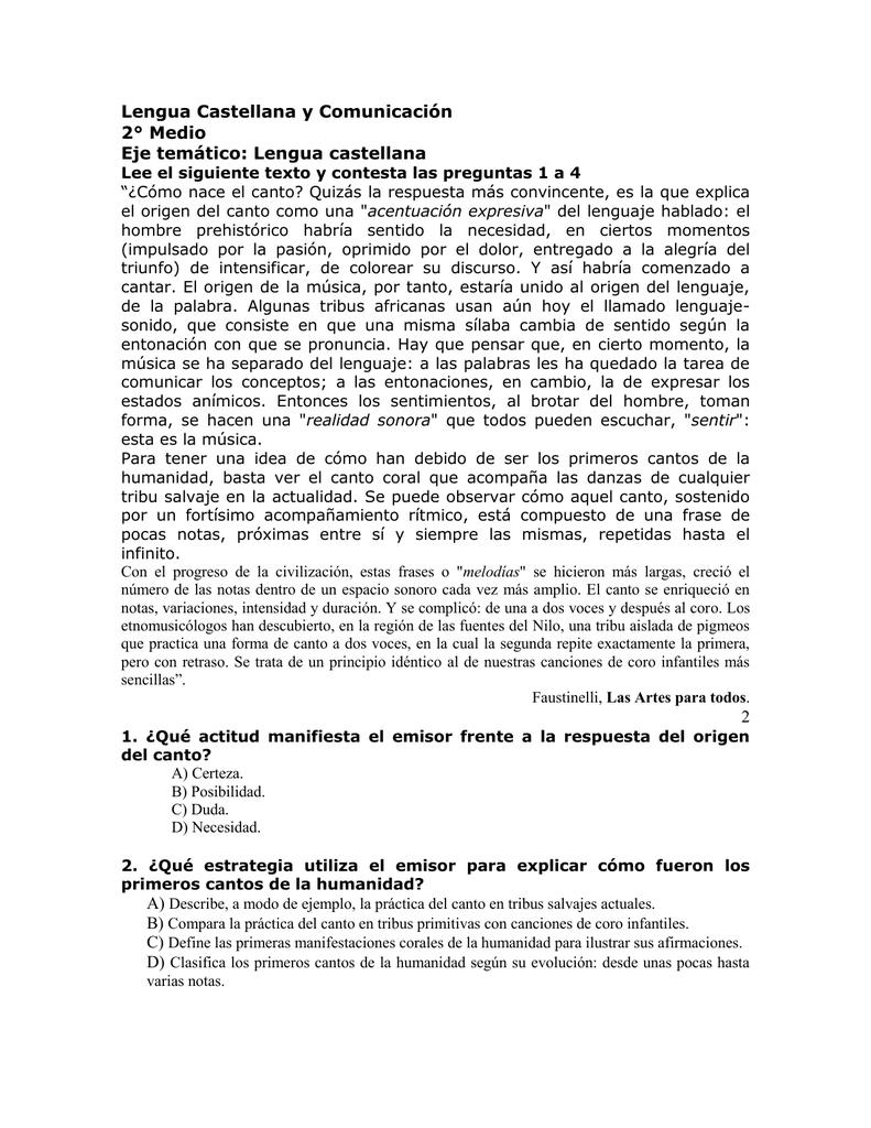 Lengua Castellana y Comunicación 2° Medio Eje temático: Lengua ...
