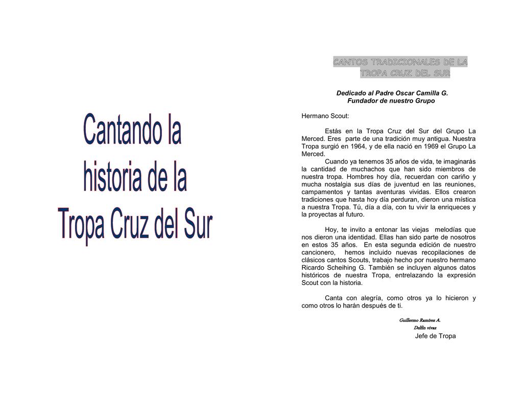 Cancionero Tropa Cruz Del Sur