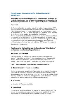 Condiciones de contratación de los Planes de pensiones