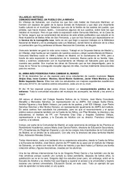 VILLAREJO. NOTICIAS OSMUNDO MARTÍNEZ, UN PUEBLO EN LA