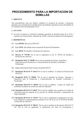 PROCEDIMIENTO PARA LA IMPORTACION DE SEMILLAS