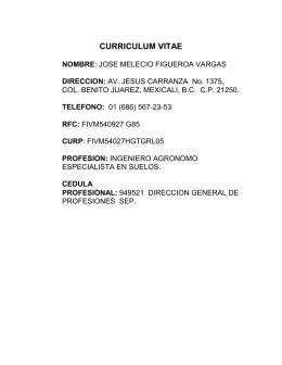 CURRICULUM VITAE  NOMBRE DIRECCION: