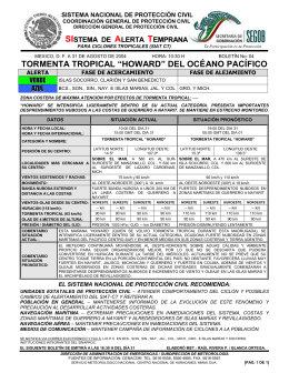 "tormenta tropical ""howard"" del océano pacífico"