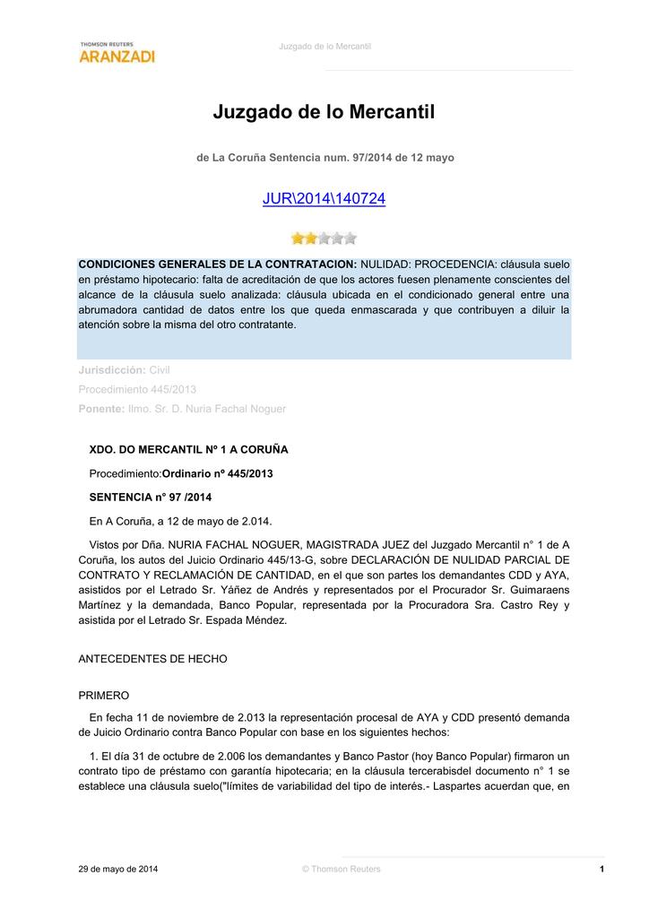 Reclamacion Cantidad Clausula Suelo Of Jur Jmerc De La Coruna Sentencia Num 97