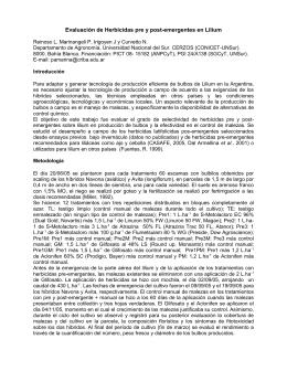 Evaluación de Herbicidas pre y posemergentes en Lilium