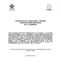 CONTRATO No. 213045 SENA - FONADE CONVOCATORIA NACIONAL No. 41 GENERAL