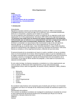 Clima Organizacional Indice 1. Introducción 2. Marco Teórico