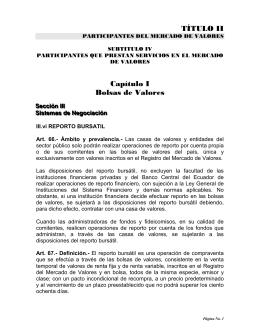 Operaciones de Reporto Bursátil