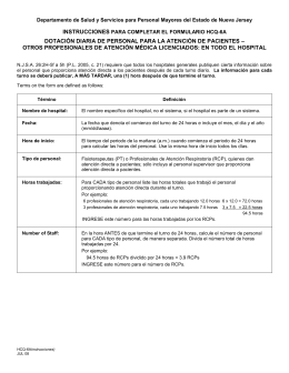 HCQ-6, instructions, daily patient care staffing, other