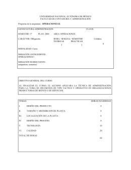 Operaciones II - Facultad de Contaduría y Administración