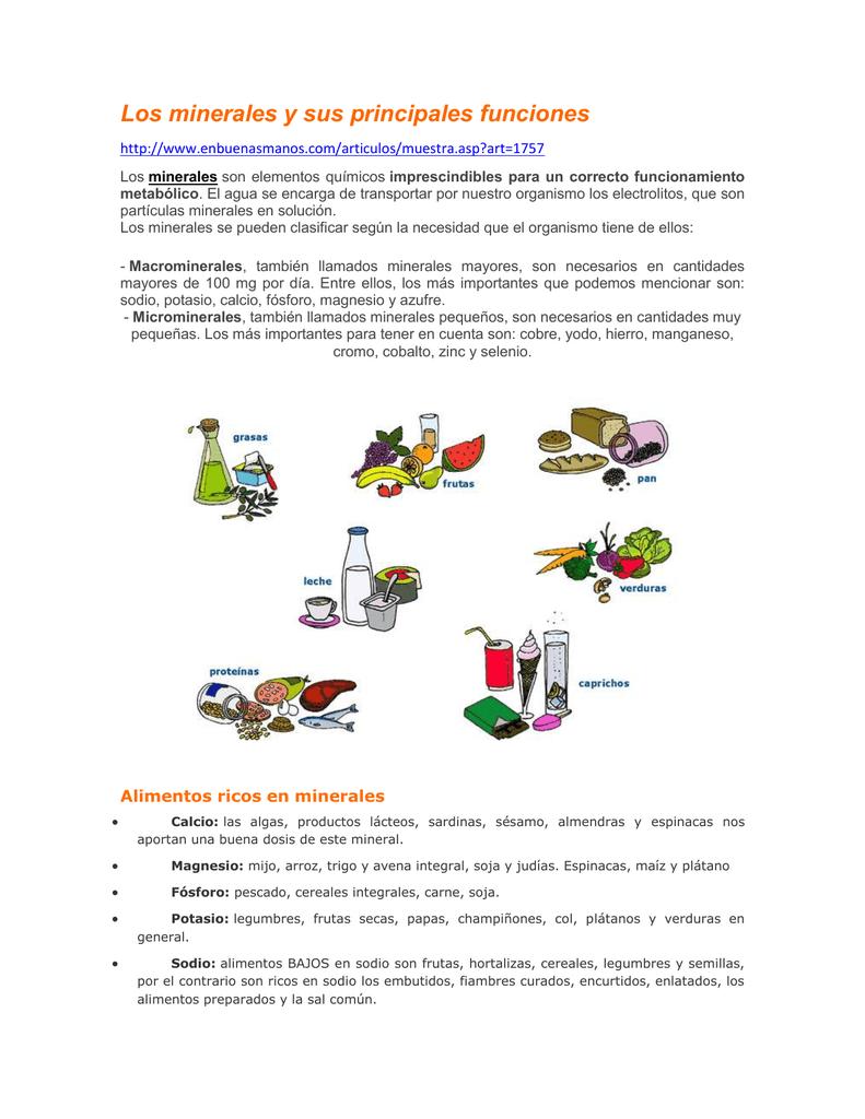 Los minerales y sus principales funciones - Alimentos ricos en magnesio y zinc ...