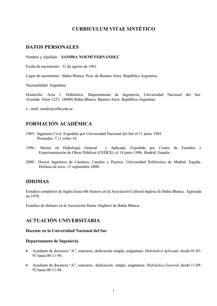 CURRICULUM VITAE SINTÉTICO DATOS PERSONALES