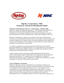 Digi-Key Corporation and NDK Sign Global Distribution Agreement