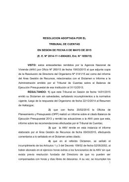 RESOLUCION ADOPTADA POR EL  TRIBUNAL DE CUENTAS