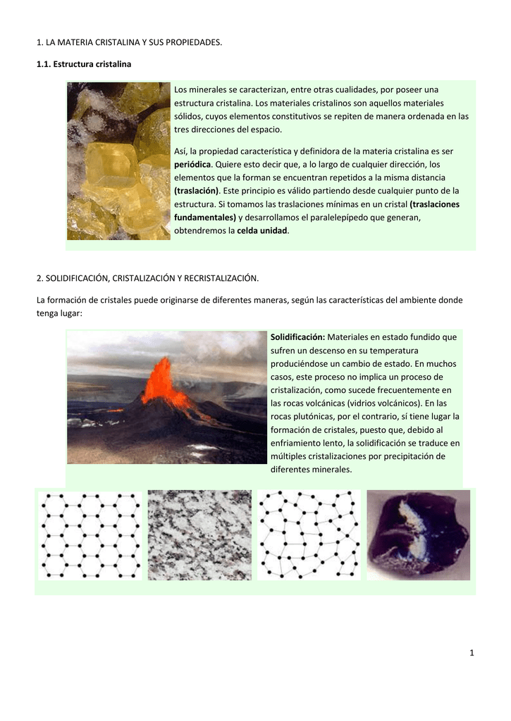 1 La Materia Cristalina Y Sus Propiedades 1 1 Estructura
