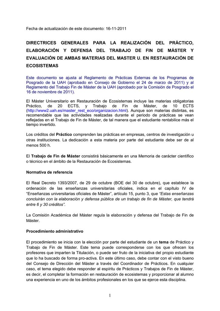 Directrices para la elaboración y defensa del Trabajo de Fin de Máster