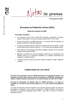 notas de prensa - Instituto Nacional de Estadística