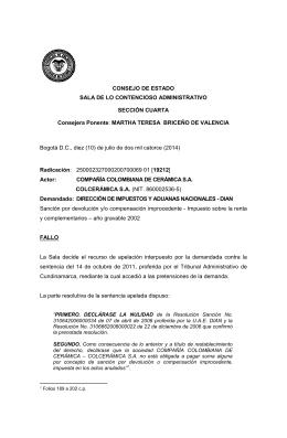 Bogotá D.C., diez (10) de julio de dos mil catorce... CONSEJO DE ESTADO SALA DE LO CONTENCIOSO ADMINISTRATIVO