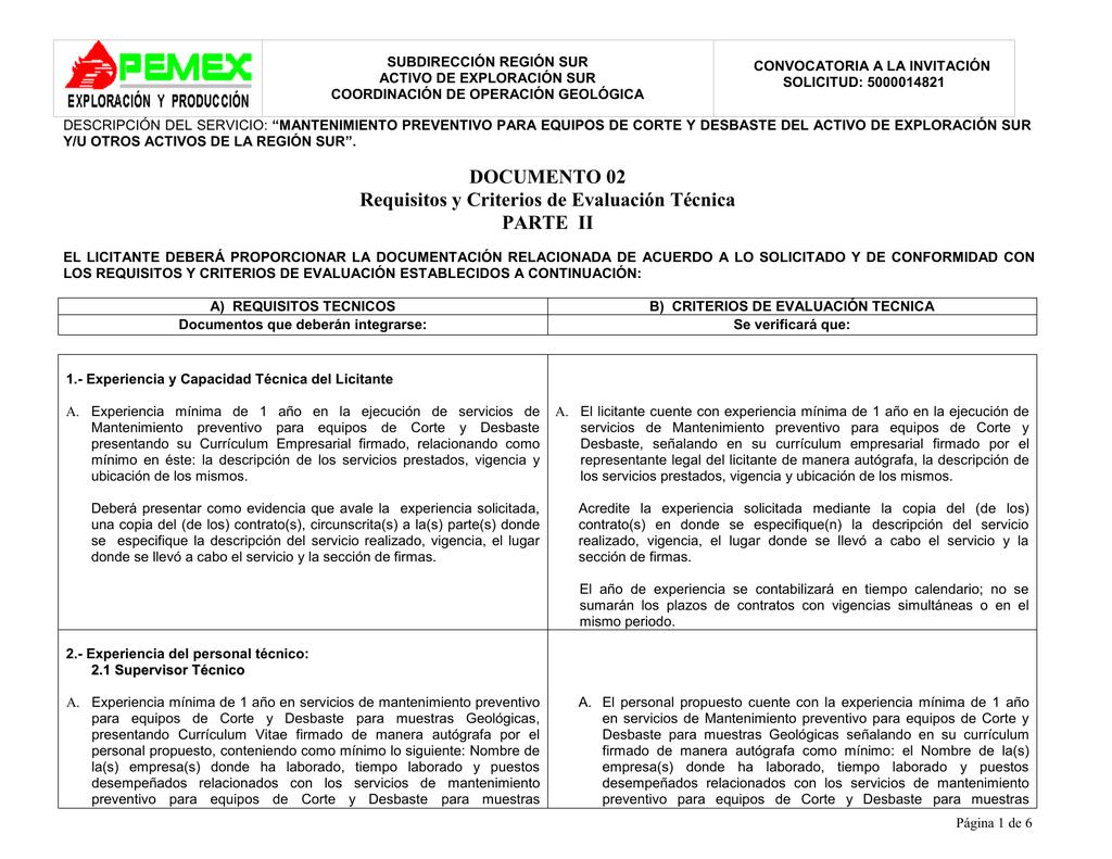 Requisitos y Criterios de Evaluacion Tecnica