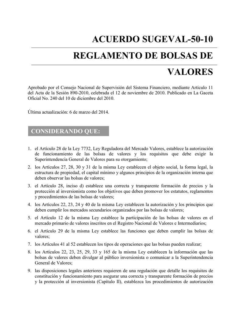 Acuerdo SUGEVAL-50-10 Reglamento de Bolsas de Valores