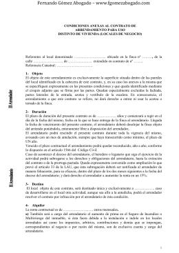 Condiciones anexas al Contrato de Arrendamiento para uso distinto