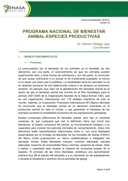 Programa Bienestar Animal Especies Productivas - Ficha