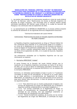 "RESOLUCIÓN DEL TRIBUNAL ARBITRAL ""AD HOC"" DE"
