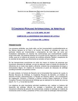 I Congreso Peruano Internacional de Arbitraje